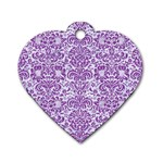 DAMASK2 WHITE MARBLE & PURPLE DENIM (R) Dog Tag Heart (One Side) Front
