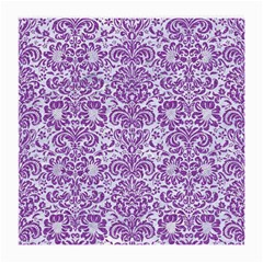 Damask2 White Marble & Purple Denim (r) Medium Glasses Cloth (2 Side) by trendistuff