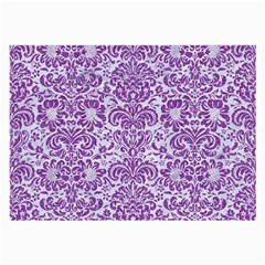 Damask2 White Marble & Purple Denim (r) Large Glasses Cloth (2 Side) by trendistuff