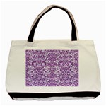 DAMASK2 WHITE MARBLE & PURPLE DENIM (R) Basic Tote Bag (Two Sides) Front
