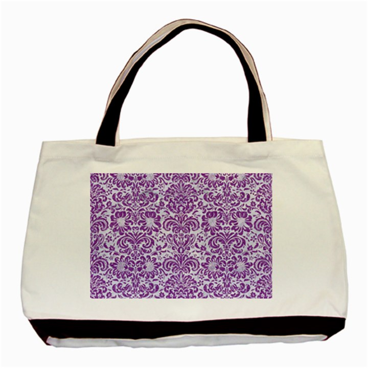 DAMASK2 WHITE MARBLE & PURPLE DENIM (R) Basic Tote Bag (Two Sides)