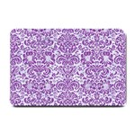 DAMASK2 WHITE MARBLE & PURPLE DENIM (R) Small Doormat  24 x16 Door Mat - 1