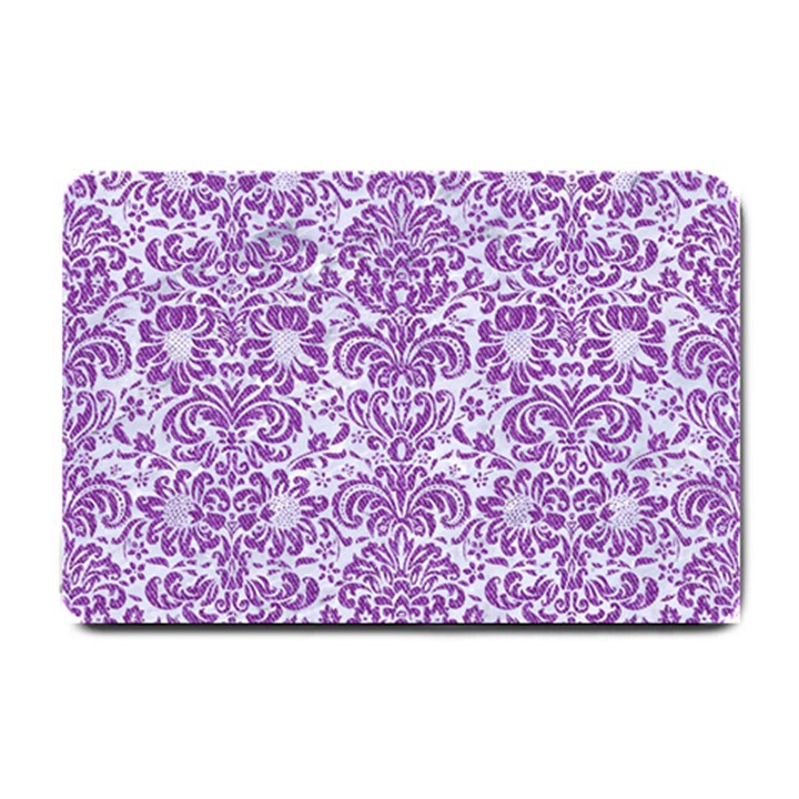 DAMASK2 WHITE MARBLE & PURPLE DENIM (R) Small Doormat