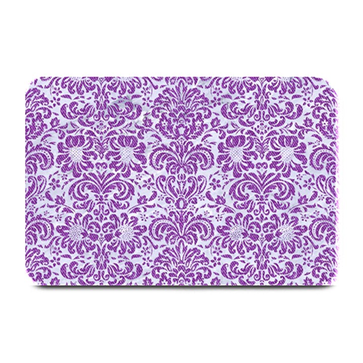 DAMASK2 WHITE MARBLE & PURPLE DENIM (R) Plate Mats