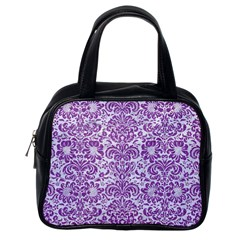 Damask2 White Marble & Purple Denim (r) Classic Handbags (one Side) by trendistuff