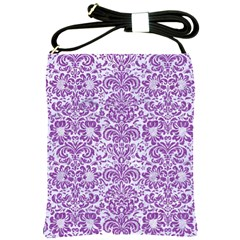 Damask2 White Marble & Purple Denim (r) Shoulder Sling Bags