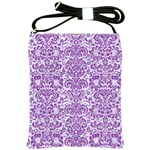 DAMASK2 WHITE MARBLE & PURPLE DENIM (R) Shoulder Sling Bags Front
