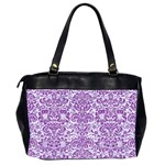 DAMASK2 WHITE MARBLE & PURPLE DENIM (R) Office Handbags (2 Sides)  Back