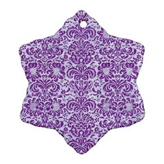 Damask2 White Marble & Purple Denim (r) Ornament (snowflake)