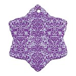 DAMASK2 WHITE MARBLE & PURPLE DENIM (R) Ornament (Snowflake) Front