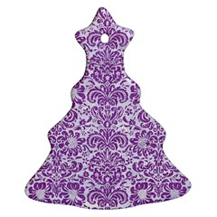 Damask2 White Marble & Purple Denim (r) Ornament (christmas Tree)  by trendistuff