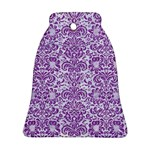 DAMASK2 WHITE MARBLE & PURPLE DENIM (R) Ornament (Bell) Front