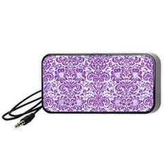 Damask2 White Marble & Purple Denim (r) Portable Speaker by trendistuff