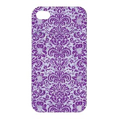 Damask2 White Marble & Purple Denim (r) Apple Iphone 4/4s Hardshell Case by trendistuff
