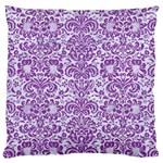 DAMASK2 WHITE MARBLE & PURPLE DENIM (R) Large Cushion Case (Two Sides) Front