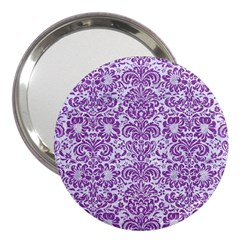 Damask2 White Marble & Purple Denim (r) 3  Handbag Mirrors by trendistuff