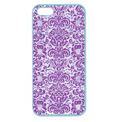 Damask2 White Marble & Purple Denim (r) Apple Seamless Iphone 5 Case (color) by trendistuff