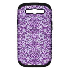 Damask2 White Marble & Purple Denim (r) Samsung Galaxy S Iii Hardshell Case (pc+silicone)