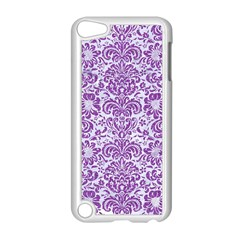 Damask2 White Marble & Purple Denim (r) Apple Ipod Touch 5 Case (white) by trendistuff