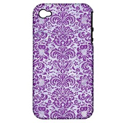 Damask2 White Marble & Purple Denim (r) Apple Iphone 4/4s Hardshell Case (pc+silicone) by trendistuff