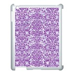 DAMASK2 WHITE MARBLE & PURPLE DENIM (R) Apple iPad 3/4 Case (White) Front