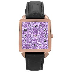 Damask2 White Marble & Purple Denim (r) Rose Gold Leather Watch  by trendistuff