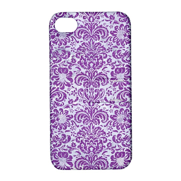 DAMASK2 WHITE MARBLE & PURPLE DENIM (R) Apple iPhone 4/4S Hardshell Case with Stand