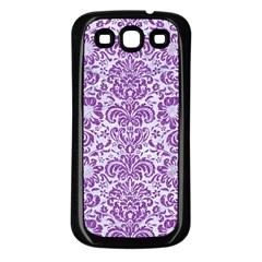 Damask2 White Marble & Purple Denim (r) Samsung Galaxy S3 Back Case (black) by trendistuff