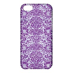 Damask2 White Marble & Purple Denim (r) Apple Iphone 5c Hardshell Case by trendistuff