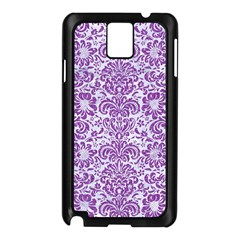Damask2 White Marble & Purple Denim (r) Samsung Galaxy Note 3 N9005 Case (black) by trendistuff