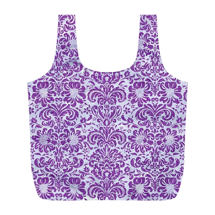 DAMASK2 WHITE MARBLE & PURPLE DENIM (R) Full Print Recycle Bags (L)