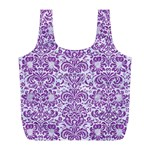 DAMASK2 WHITE MARBLE & PURPLE DENIM (R) Full Print Recycle Bags (L)  Back