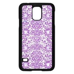 Damask2 White Marble & Purple Denim (r) Samsung Galaxy S5 Case (black) by trendistuff