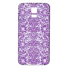 Damask2 White Marble & Purple Denim (r) Samsung Galaxy S5 Back Case (white) by trendistuff