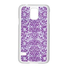 Damask2 White Marble & Purple Denim (r) Samsung Galaxy S5 Case (white) by trendistuff