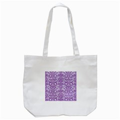 Damask2 White Marble & Purple Denim (r) Tote Bag (white) by trendistuff