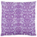 DAMASK2 WHITE MARBLE & PURPLE DENIM (R) Large Flano Cushion Case (One Side) Front