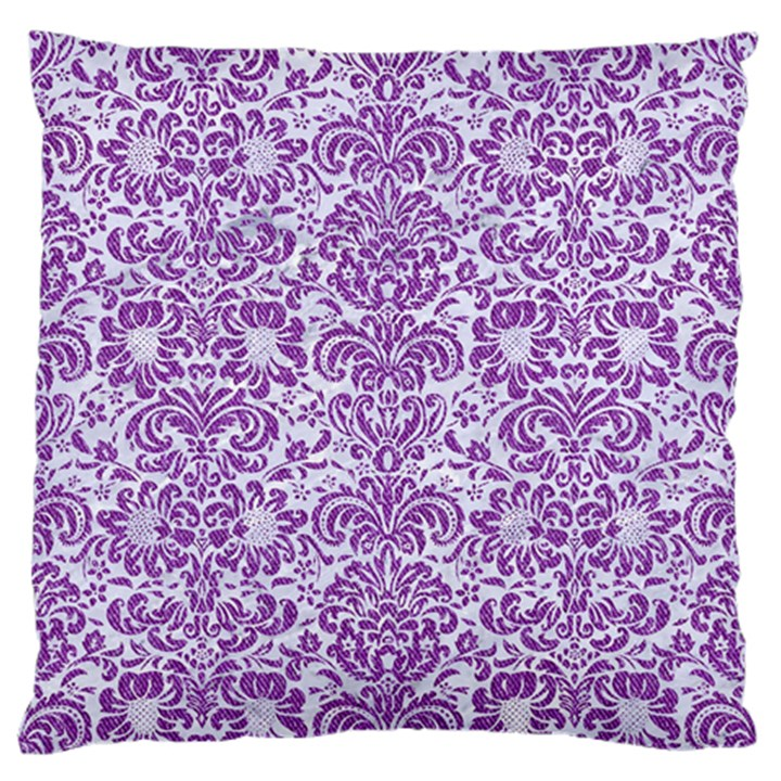 DAMASK2 WHITE MARBLE & PURPLE DENIM (R) Large Flano Cushion Case (One Side)