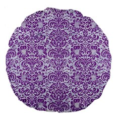 Damask2 White Marble & Purple Denim (r) Large 18  Premium Flano Round Cushions by trendistuff