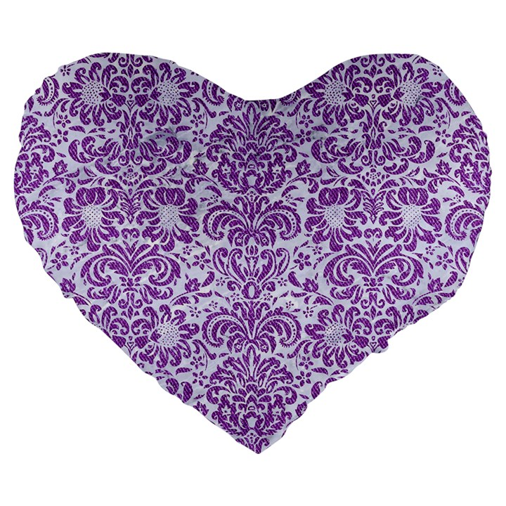 DAMASK2 WHITE MARBLE & PURPLE DENIM (R) Large 19  Premium Flano Heart Shape Cushions