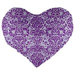 DAMASK2 WHITE MARBLE & PURPLE DENIM (R) Large 19  Premium Flano Heart Shape Cushions Back