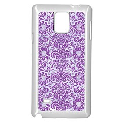 Damask2 White Marble & Purple Denim (r) Samsung Galaxy Note 4 Case (white) by trendistuff