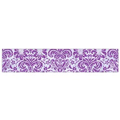 Damask2 White Marble & Purple Denim (r) Small Flano Scarf by trendistuff