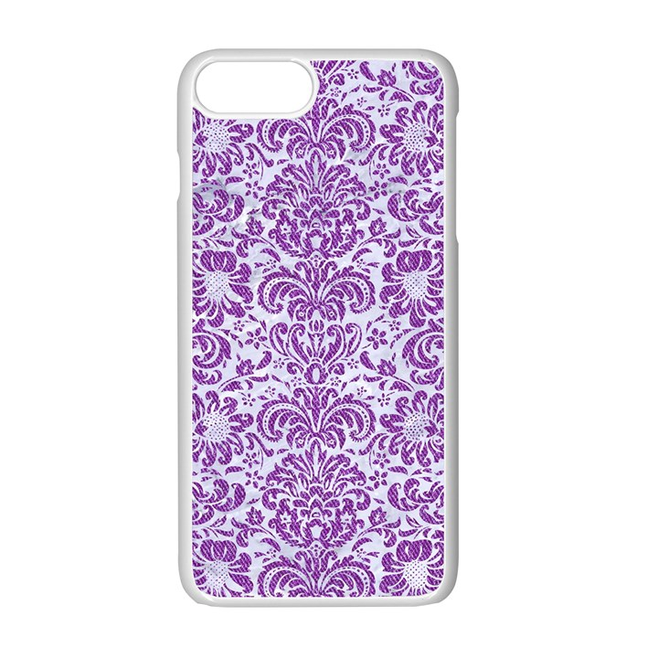 DAMASK2 WHITE MARBLE & PURPLE DENIM (R) Apple iPhone 7 Plus Seamless Case (White)