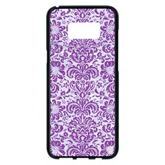 Damask2 White Marble & Purple Denim (r) Samsung Galaxy S8 Plus Black Seamless Case by trendistuff