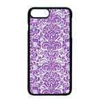 DAMASK2 WHITE MARBLE & PURPLE DENIM (R) Apple iPhone 8 Plus Seamless Case (Black) Front
