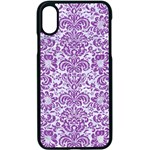 DAMASK2 WHITE MARBLE & PURPLE DENIM (R) Apple iPhone X Seamless Case (Black) Front