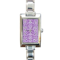 Damask2 White Marble & Purple Denim Rectangle Italian Charm Watch