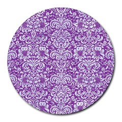 Damask2 White Marble & Purple Denim Round Mousepads by trendistuff