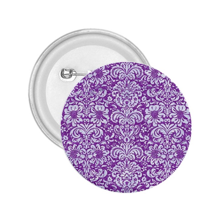 DAMASK2 WHITE MARBLE & PURPLE DENIM 2.25  Buttons